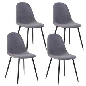 CHAISE Lot de 4 Chaises avec pieds en métal - Scandinave