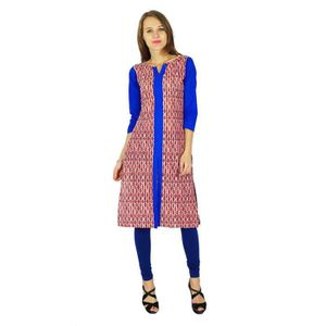 Solid Casual Top Rayon Kurti Tunique femmes indiennes Kameez Straight Kurta
