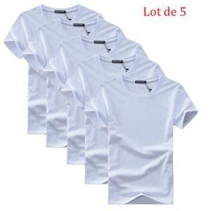 T-SHIRT Lot de 5 T shirt Homme Encolure Arrondie T Shit Ho