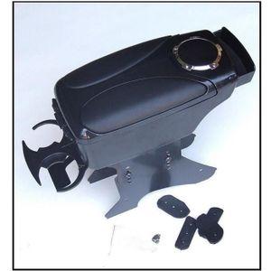 Cargoods Accoudoir central tissu noir avec compartiment de rangement