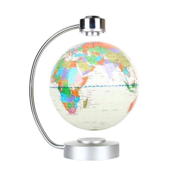 La Lévitation magnétique carte du monde flottant, 8- globe en rotation Planète Terre Globe - Blanc
