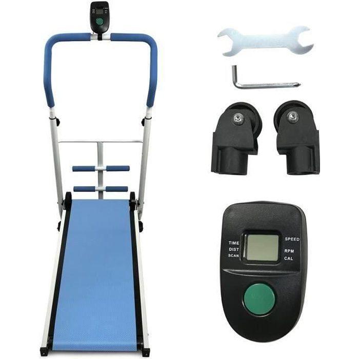Tapis de Course Pliable Tapis de Marche Manuel avec écran LED Courir Mini Fitness pour la Maison ou Le Bureau - bleu