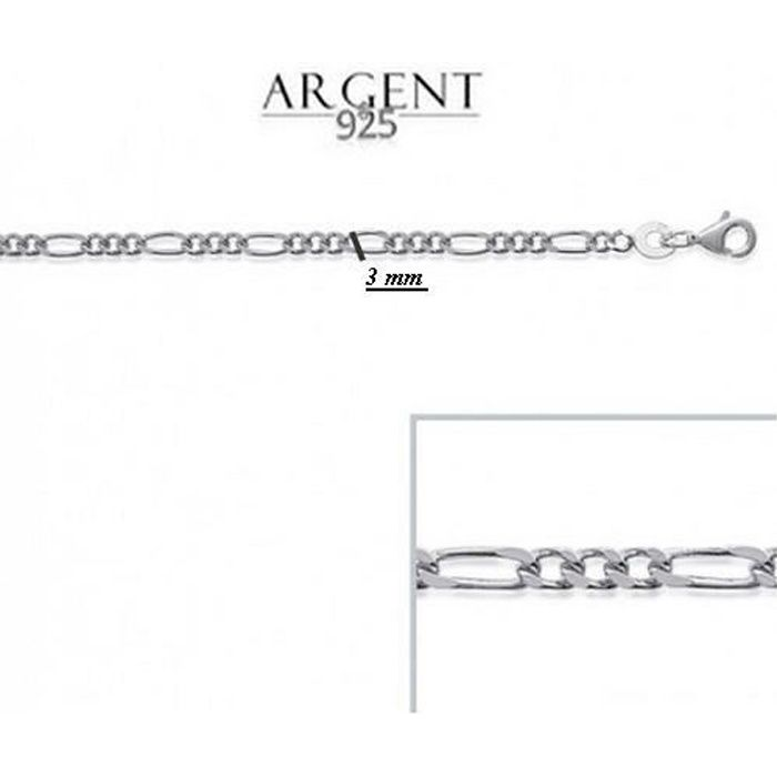50 cm Chaîne Maille Figaro Argent Massif 925