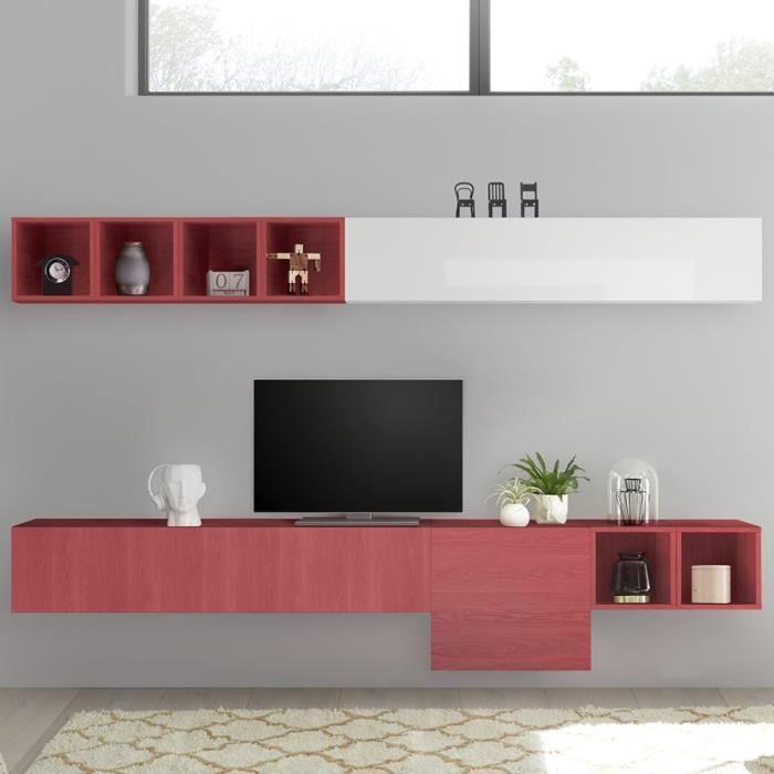 Ensemble meuble télé rouge et blanc laqué MANDURIA Rouge L 280 x P 30 x H 190 cm