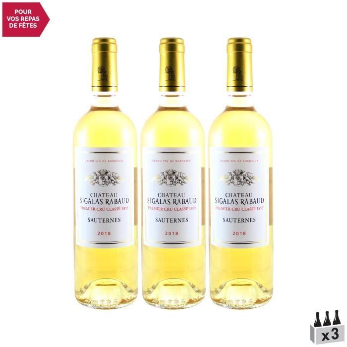 Château Sigalas Rabaud 1er Cru Classé Blanc 2018 - Lot de 3x75cl - Vin Doux Blanc de Bordeaux - Appellation AOC AOC Sauternes