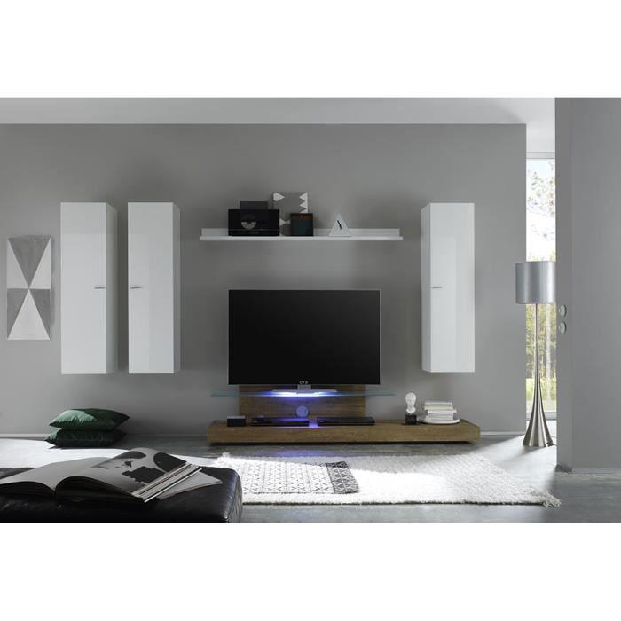 Ensemble meuble TV blanc laqué et chêne avec éclairage LED en option contemporain ANITA Sans L 309 x P 50 x H 180 cm Blanc
