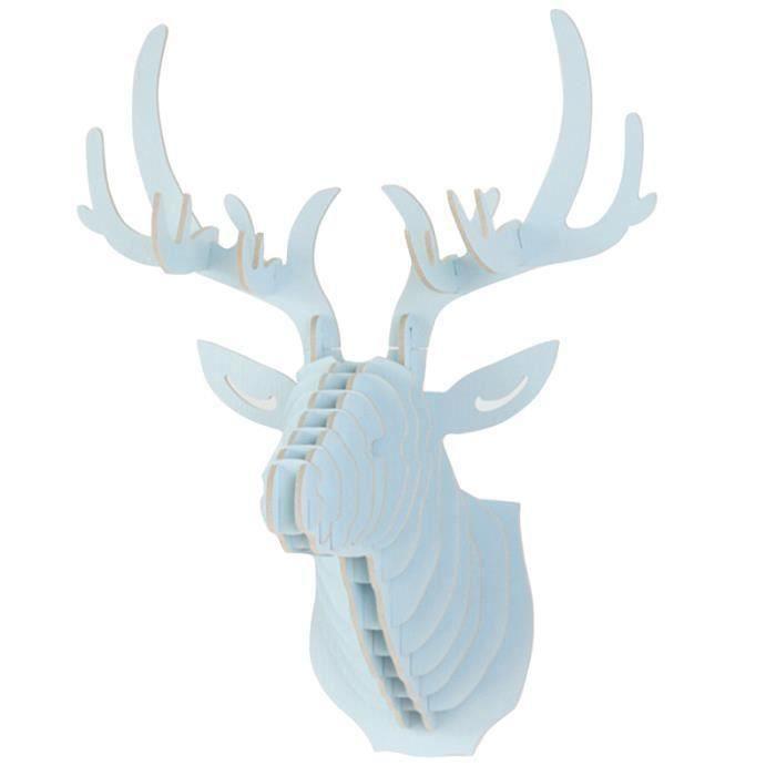 QX Diy 3D Bois Sculpture de Tête de Cerf Murale Orné Décor Crochet Cintre Maison - QXVSO827A1904