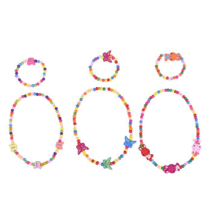 6 pièces mignon mode non toxique perles en bois collier filles Bracelet enfants ensembles de bijoux pour bébé JEWELERY DISPLAY