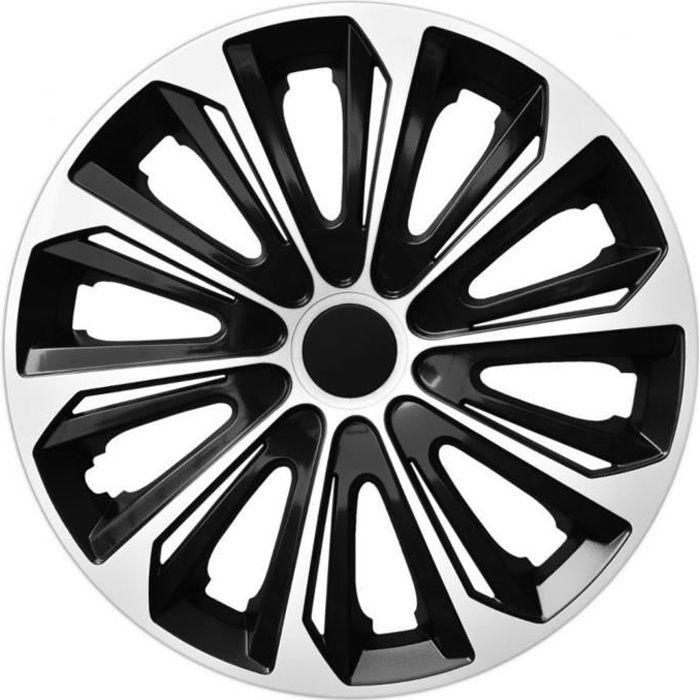 Enjoliveurs de roues EXTRA STRONG noir- blanc 14 - lot de 4 pièces