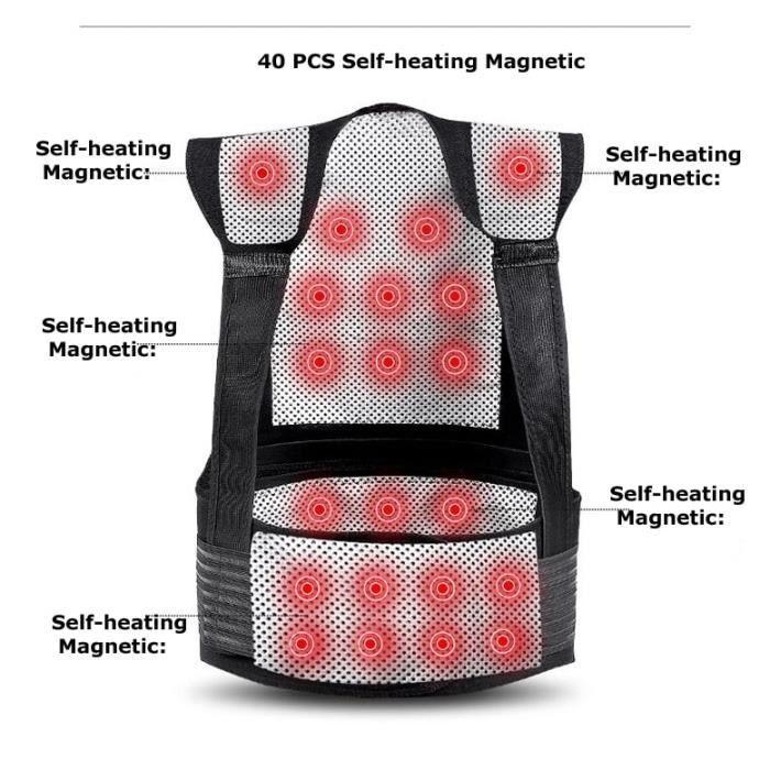 CEINTURE LOMBAIRE,Tourmaline auto chauffant magnétique thérapie ceinture taille soutien genouillère épaules chandail - Type Black-L