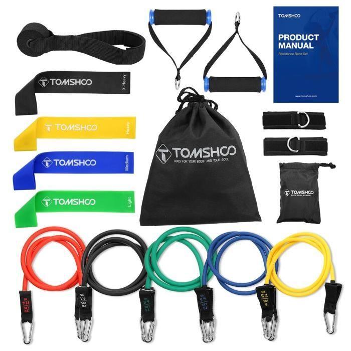 Accessoires Fitness - Musculation,TOMSHOO 17Pc bandes de résistance ensemble exercice bande élastique - Type 17Pcs Set A