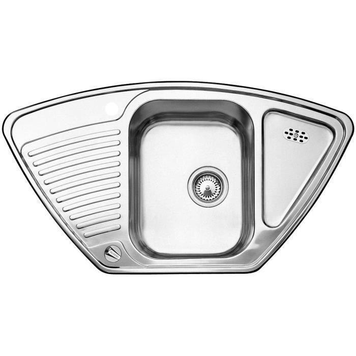 BLANCO Toga 9 E évier en acier inoxydable finition naturelle d'angle 513604 pour armoire d'angle 90 cm Argent