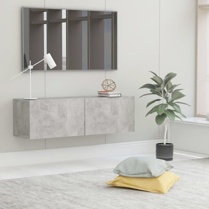 Meuble TV Mural Design Tendance Style Contemporain - Avec 2 Portes Abattantes - Gris béton Aggloméré - 100x30x30 cm