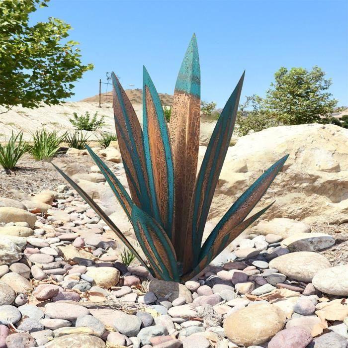 11 -Metal Art Tequila Sculpture rustique Jardin Yard Sculpture Décor à la maison 9 feuilles-K1915
