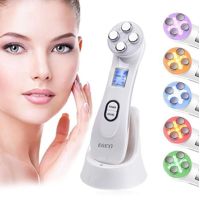 Appareil à Ultrason Visage, LED Massage Visage Appareil Visage Anti Age Luminotherapie Appareil, Soins de la Peau pour le Visage