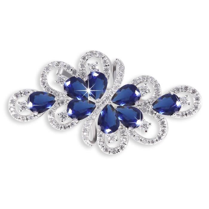 Hanie Combinaison Argent Broche fleur Saphir Fleur Broche avec bleu et blanc Gouttes cristal Swarovski éléments Zirconium Convien