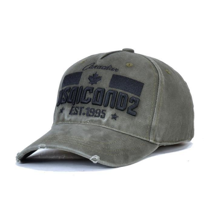 DSQicond2 Casquette de Baseball pour hommes, chapeau vert militaire avec lettres brodées, de style H green Adjustable