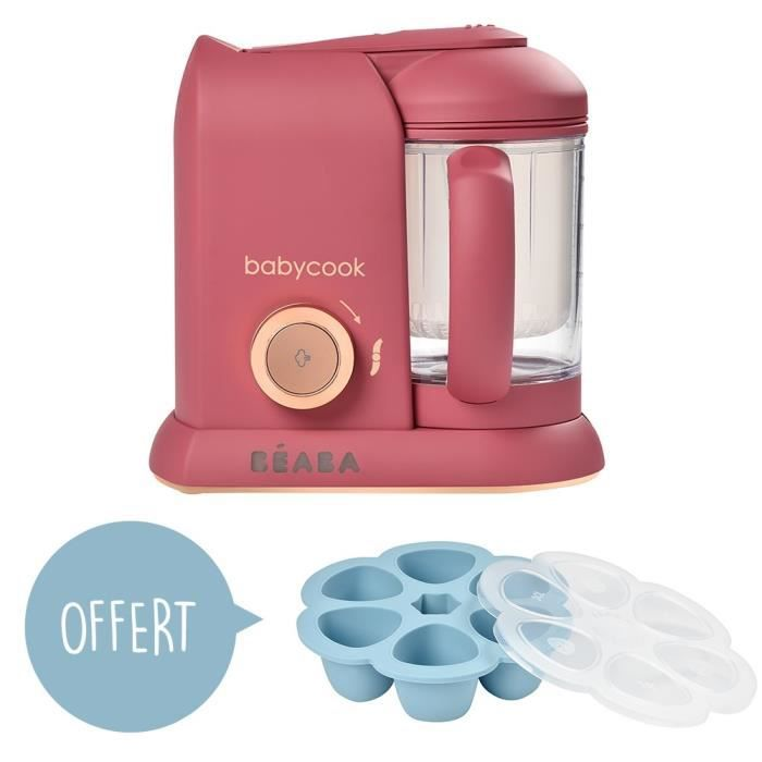 BEABA Robot Bébé Babycook Solo Litchee + Multiportions silicone OFFERTE