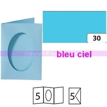 Lot de 5 Cartes passe-partout ovales à 2 volets, avec enveloppes, Format A6 - bleu ciel