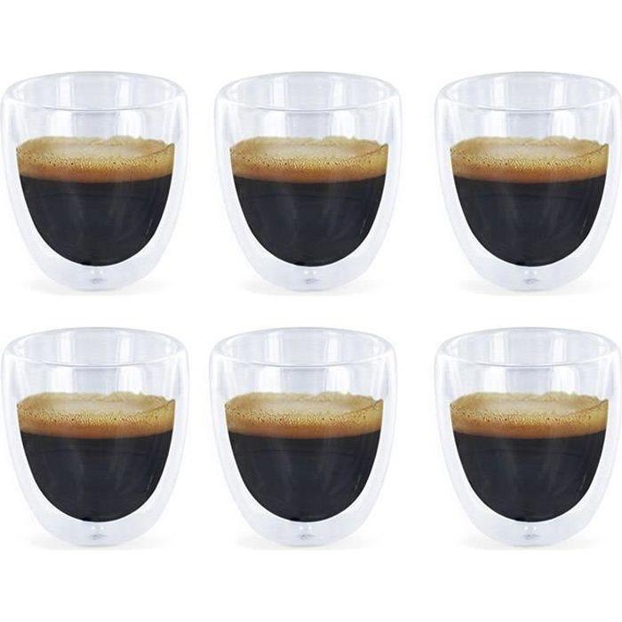 6 Verres à Expresso Double Paroi - Tasses café design