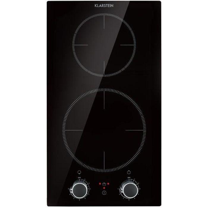 Klarstein Kochheld Double plaque de cuisson à induction encastrable , 2900W , 9 niveaux d`intensité , verre noir