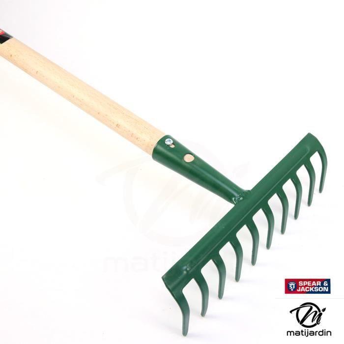 Rateau 10 dents avec manche bois. Spear & Jackson - Produit neuf