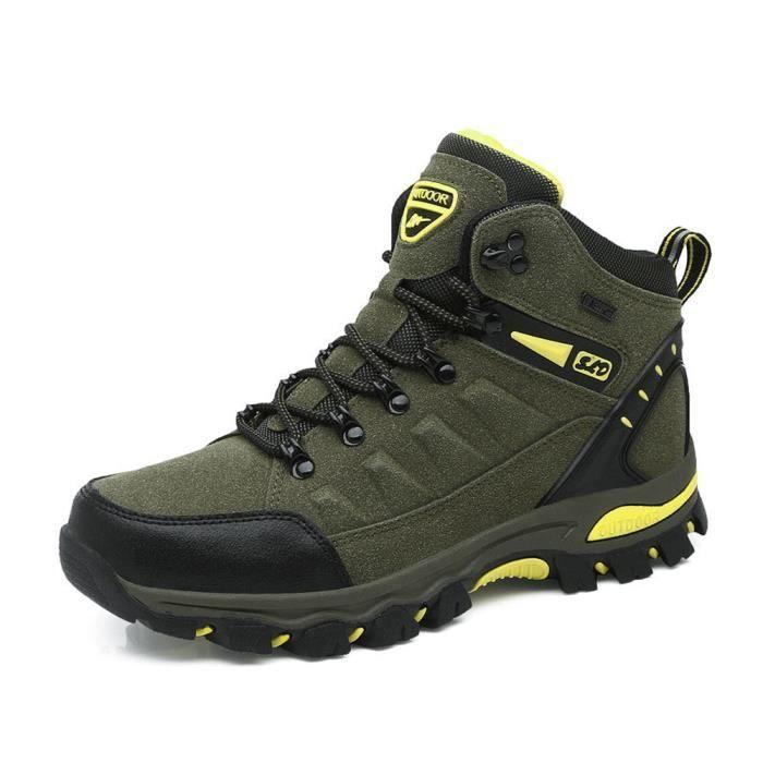 Hommes Chaussures à lacets d'alpinisme course confortable Vert Chaussures Randonnée