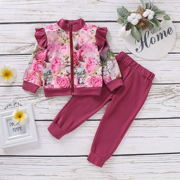 Tout-petit bébé fille à volants imprimé floral hauts manteau pantalon solide survêtement tenues 90