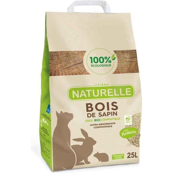 Perlinette - Litière Naturelle Bois de Sapin 100% Éco pour Chat - 25L