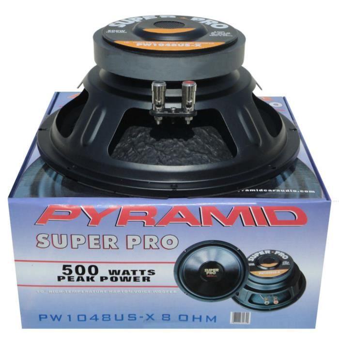 1 PYRAMID PW1048USX haut-parleur woofer 25,00 cm 250 mm 10- 250 watts rms 500 watt max impédance 8 ohms 89,2 db spl maison, 1 pièce
