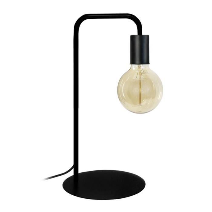 NORWICH Lampe à poser en acier - L22 x P18 x H45 cm - Noir - Ampoule LED 4W E27 Noir comprise