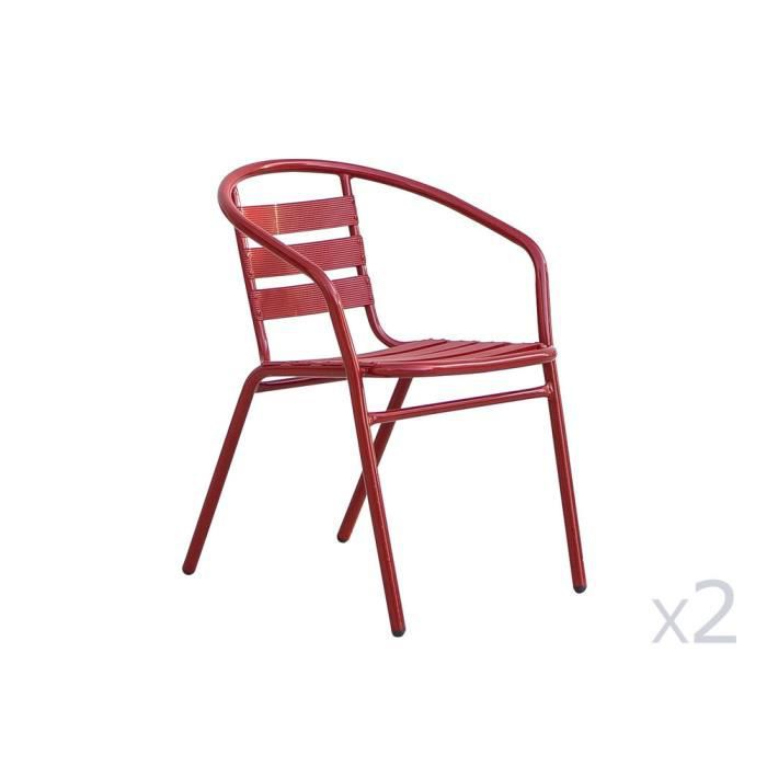 fauteuil de jardin empilable en aluminium lot de 2 coffee rouge achat vente fauteuil. Black Bedroom Furniture Sets. Home Design Ideas