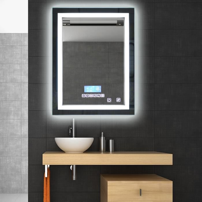 miroir de salle de bain avec clairage led lumi re r glable 24w 60x80cm achat vente miroir. Black Bedroom Furniture Sets. Home Design Ideas