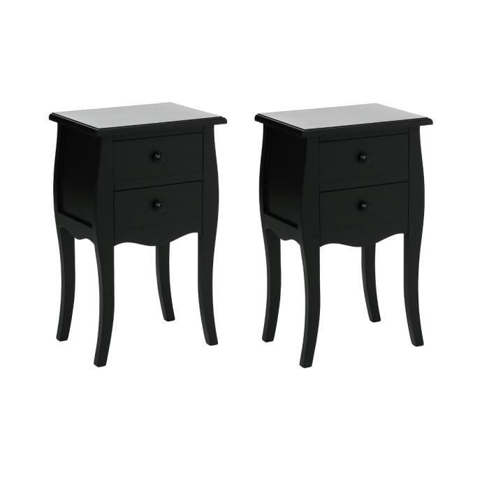 table de chevet 2t noir achat vente commode de chambre table de chevet 2t noir cdiscount. Black Bedroom Furniture Sets. Home Design Ideas