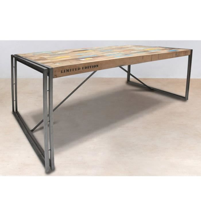 Table en bois rectangle 250cm industry achat vente for Table en bois et fer