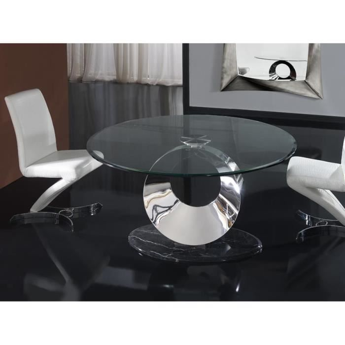 table design de salle a manger ronde en verre acier et marbre 150 cm achat vente table a. Black Bedroom Furniture Sets. Home Design Ideas