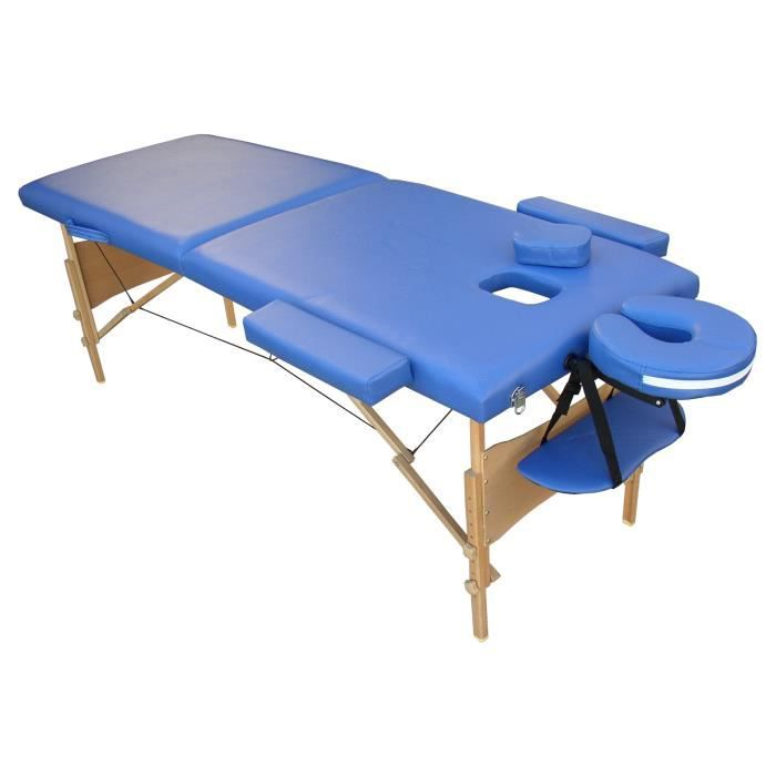 W4b table de massage bleue pliante portable bois achat vente table de massage w4b table de - Table de massage pliante bois ...