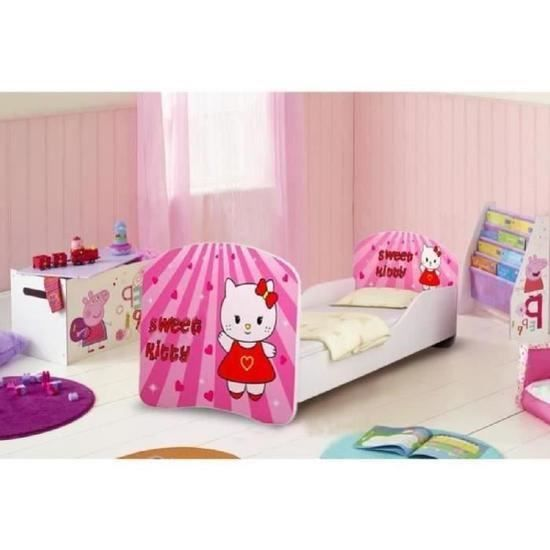 lit enfant sweet kitty sommier matelas 140x70 cm. Black Bedroom Furniture Sets. Home Design Ideas