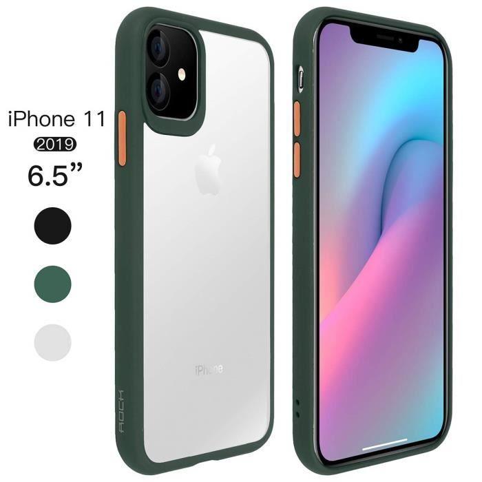 Coque iPhone 11 Transparente Antichoc de Protection Résistant aux Rayures PC Solide Rigide TPU Bumper (Noir)