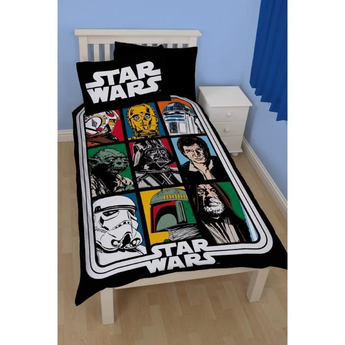parure de lit force star wars achat vente parure de couette cdiscount. Black Bedroom Furniture Sets. Home Design Ideas