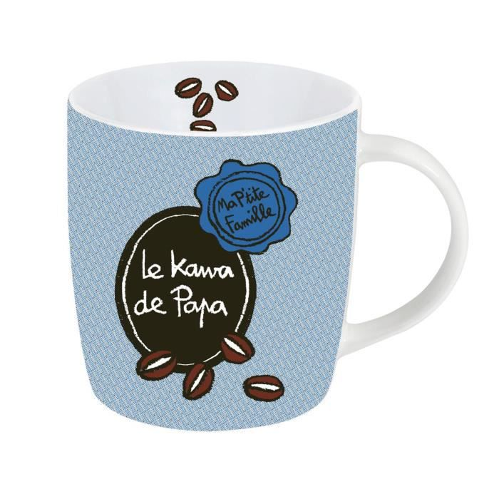 mug tasse le kawa de papa en porcelaine bleu id e. Black Bedroom Furniture Sets. Home Design Ideas