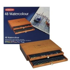 coffret bois 48 crayons watercolour derwent 30 5 x 24 5 x 6cm achat vente crayon de couleur. Black Bedroom Furniture Sets. Home Design Ideas