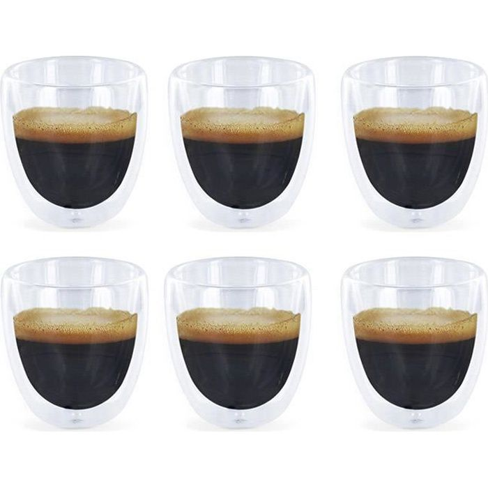 6 verres expresso double paroi tasses caf design achat vente service th caf. Black Bedroom Furniture Sets. Home Design Ideas