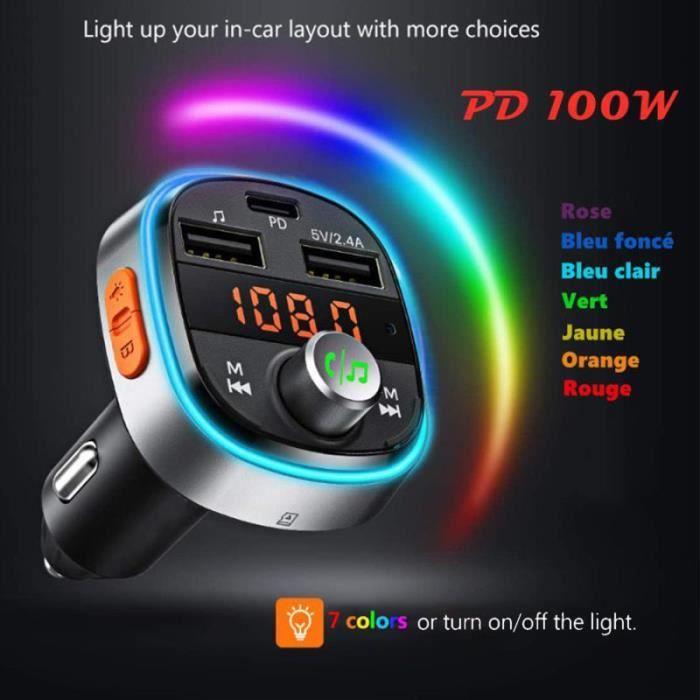 Transmetteur FM Bluetooth 5.0 Adaptateur Radio Lecteur MP3 Dual USB Ports QC3.0 et 5V//1A Chargeur Voiture Appel Main Libre Affichage /à LED Cl/é USB pour iOS et Android