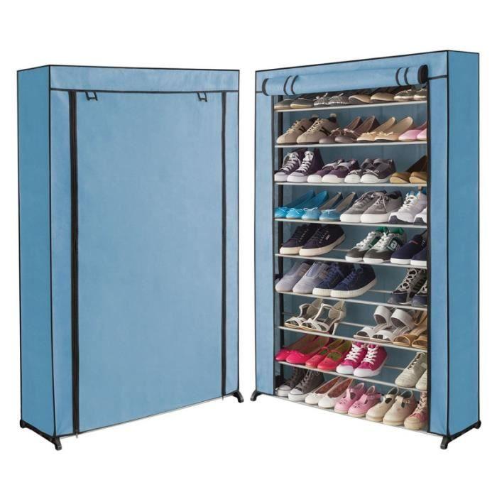 Meuble A Chaussures 50 Paires Housse Bleue Claire Achat Vente Meuble A Chaussures Meuble A Chaussures 50 Paires Cdiscount