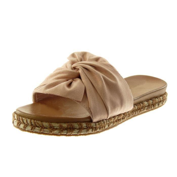 Angkorly Chaussure Mode Mule Sandale Slip-on Plateforme Femme Cha/îne dor/é Corde Talon compens/é Plateforme 4 CM