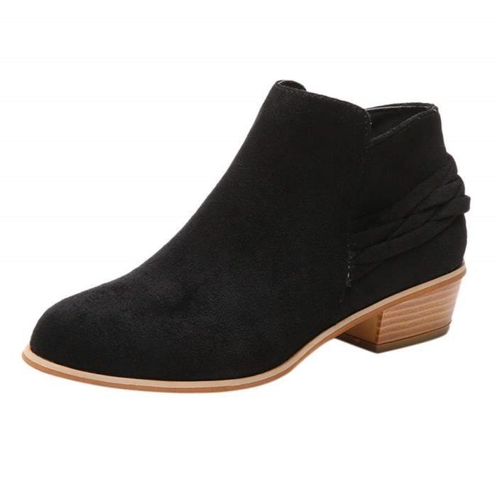 Chic Taille Cuir Grande 35 43 Talon Bottillons Femmes en Chelsea Plates Boots Compensées Daim Basse Bottes Chaussures Nm8n0w