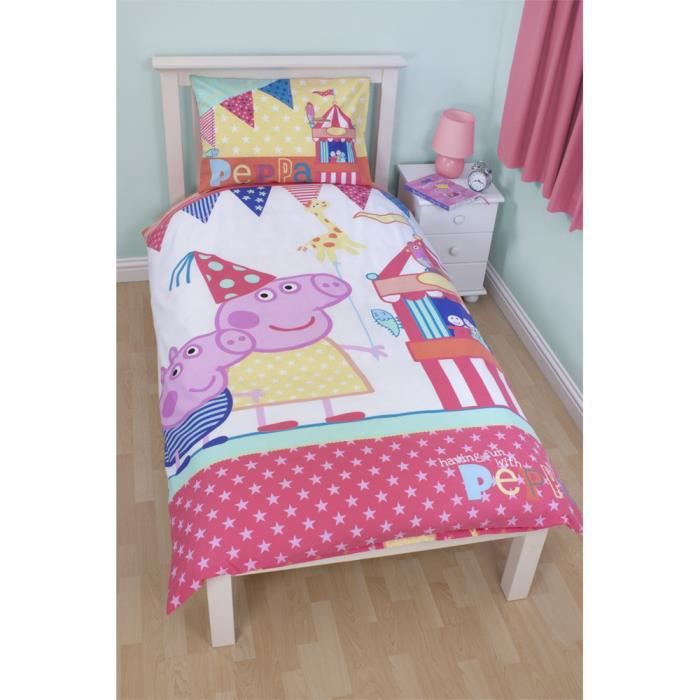 parure de lit 1 place peppa pig. Black Bedroom Furniture Sets. Home Design Ideas