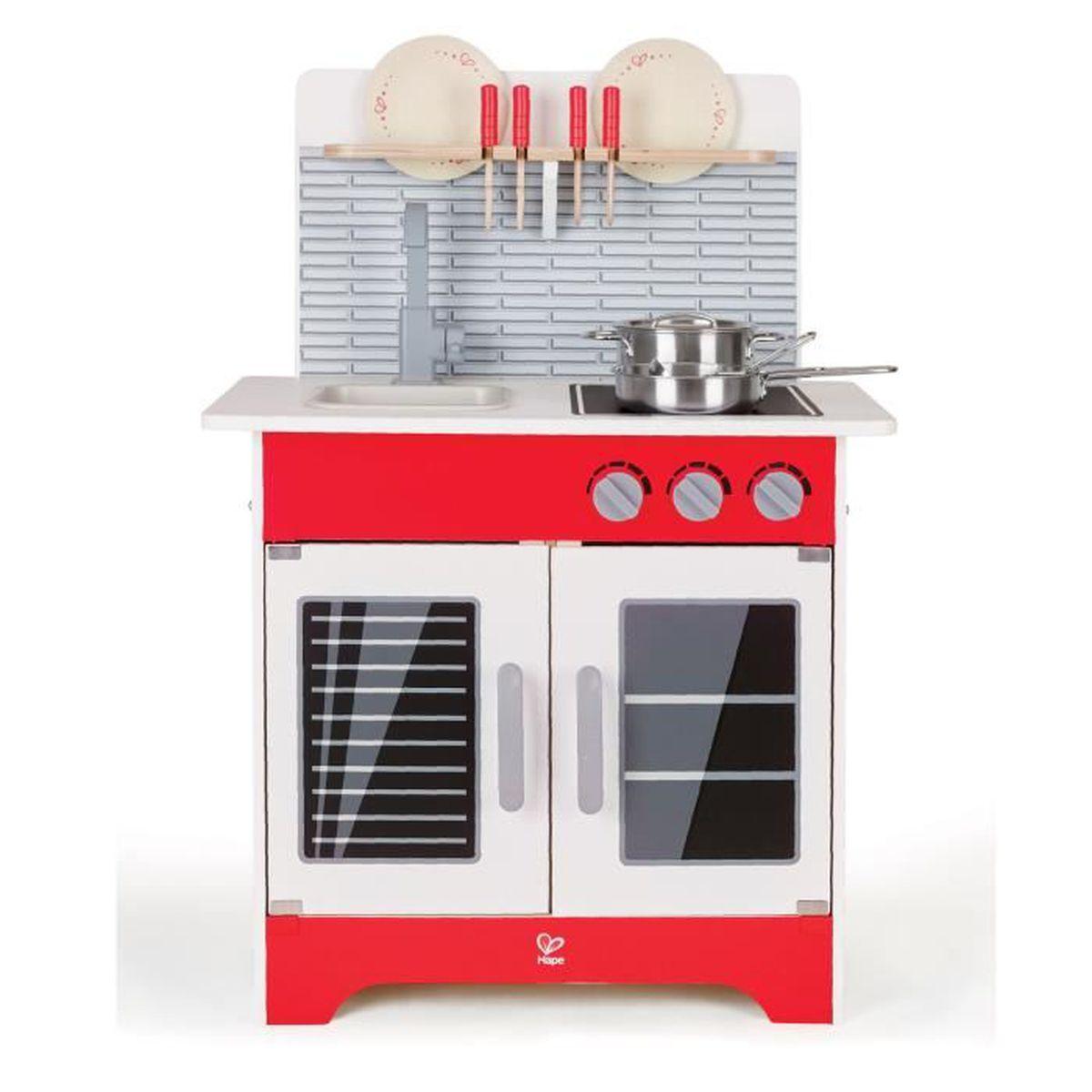 Cuisine Équipée En Bois Rouge chef cuisine équipée moderne en bois pour enfant - rouge