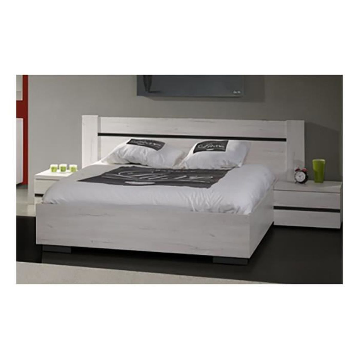 torino lit 160x200 2 chevets blanc achat vente. Black Bedroom Furniture Sets. Home Design Ideas